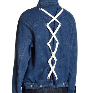 NWT LUSH Lace Up Back Denim Jean Button Jacket M